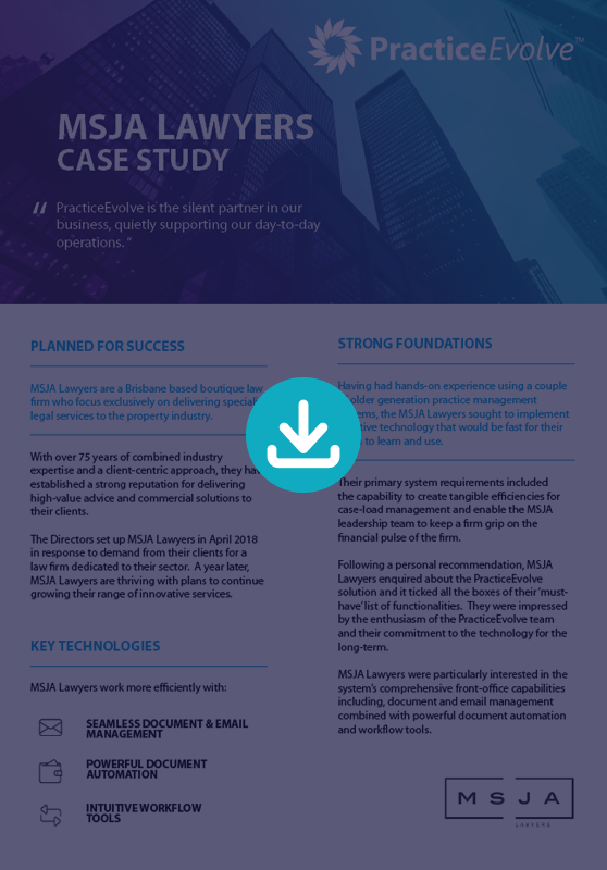 PracticeEvovle - Legal Practice Management Software - Case Study - MSJA Lawyers