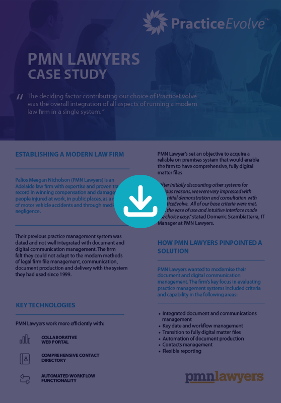 PracticeEvovle - Legal Practice Management Software - Case Study - PMN Lawyers