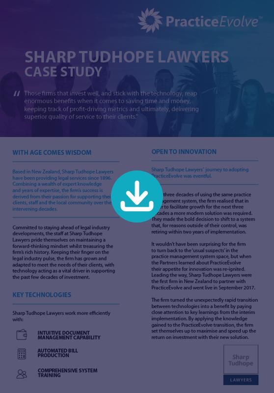 PracticeEvovle - Legal Practice Management Software - Case Study - Sharpe Tudhope