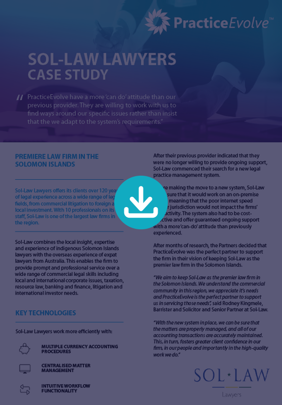 PracticeEvovle - Legal Practice Management Software - Case Study - Sol-Law Lawyers